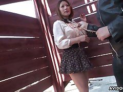 Several dudes are toying hairy pussy of Japanese girl Kei Kitagawa upon overturn