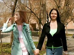 Russian lesbians enjoy toying each others pussies on the prankish date