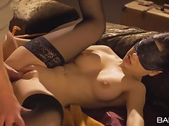 Blindfolded and bound girl with a perfect body gets fucked