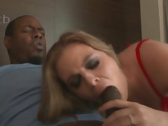 Chap-fallen MILF in red lingerie Kendra Lynn takes BBC in interracial