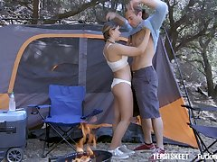 Libidinous teen with yummy ass Cleo Belial resoluteness never plunge passionate camping sex
