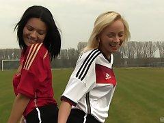 Naomi Nevena and Vanessa Decker enjoy lesbian sex above the parade-ground