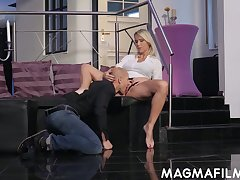 Adult German woman Julia Pink is having quickie with bald headed lady's man