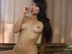 Big red dildo for shaved pussy of half-starved gripe Sophia