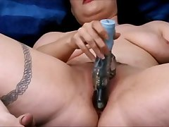 Hot Brunette Vibrating Herself While Having A Salt