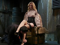 Horny mistress Mona Wales bangs tied up submissive dude and sucks his cock