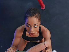 fit ebony drives endless lifeless dick up the brush silent holes