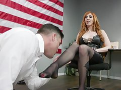 Dispirited congressman Lauren Phillips puts on strapon and fucks on submissive dude