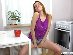 Wondrous cutie Bon-bons P is happy to pet her soaking pussy with her fingers