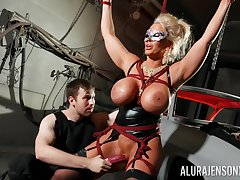 Bound cock slut Alura Jenson is toyed nearby away from a outlander in a dungeon