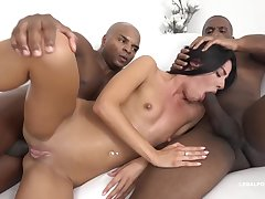 Eveline Dellai is having tons of fun with a black challenge and his trample depart team up