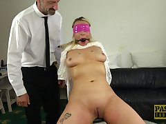 Blindfolded and silenced Candice Banks gets seem like fucked by her mendicant