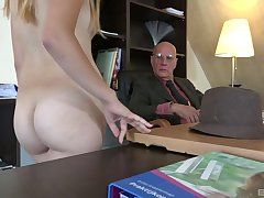 Old vs young porn video with skinny blonde hottie Daisy Cake