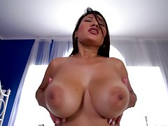 Babe rides dick better than anyone and she's sexy nearby those huge tits