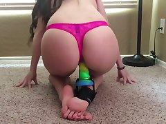 Nasty webcam model loves her Hitachi vibrator and rainbow dildo