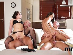 Cock supplanting foursome pleasures for two elegant wives