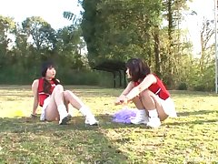 FFM threesome in outdoors with gorgeous cheerleader Yuri Shinomiya
