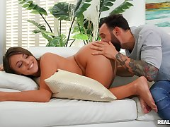 Lanose guy ass fucks his girl and makes her swallow