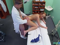Emaciated babe bends for be passed on doctor's energized dick