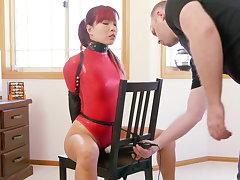 Chair Vault in Red Openwork Bodysuit