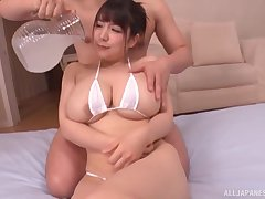 Oiled Japanese cutie Yuzuki Marina enjoys getting fucked good