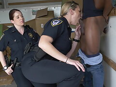 Black suspect taken aloft a rough ride, gets horny Milf cops wet and gender aloft stolen belongings