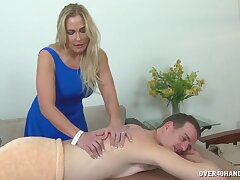 Massage with a premium cougar leads to magical handjob moments