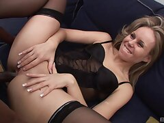 Black dude with a giant cock fucks ass of seductive Sindy Lange
