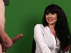 Dude jerks off while cute brunette Heidi Raymond watches. HD