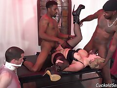 Bit of crumpet Ryan Keely fully humiliates her cuckold with black cows