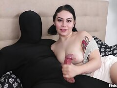 Nude brunette in amateur charm overhead cam