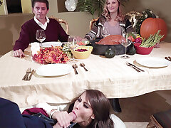 Dad's GIRLFRIEND deep-throat sonny not present his under the table