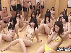 Huge hardcore uncensored Japanese orgy